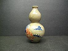 A  Rure  Blue and White and Copper Red GE  Double-Gourd Snuff Bottle