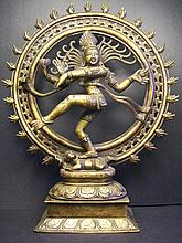 A finely and rare Shiva as Lord of The Dance (Nataraja)Indian Snowflake Copper bronze figure:H:36.5cm,D:29.6cm,4028g