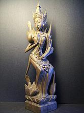 A Beautiful and Rare Wood Carved GuanYin Figure