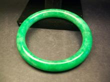 A Finely and Rare Old Chinese Emerald Green Jadeite Bangle
