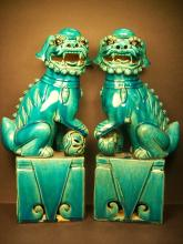 A Pair of Chinese Blue Glazed Porcelain Fu Lion and Pup--H:32.7cm.
