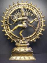 Indian Bronze Dancing Shiva- finely and rare Shiva as Lord of The Dance (Nataraja)Indian Snowflake Copper bronze figure:H:36.5cm,D:29.6cm,4028g