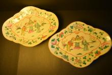 Pair of Chinese Qing dynasty finly painting figures and flower and bird designs porcelain begonia type plate