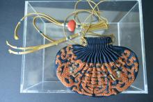 A Finely and Precious Chinese Qing Dynasty Embroidery Traditional Decorated With Red Coral-Dragon Pattern Sachet Bag