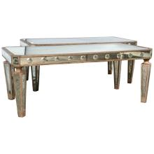 Pair of Hollywood Regency Silver Gilt Wooden and Mirrored Coffee Tables