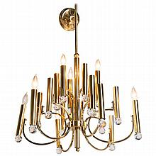 Parzinger Style Chandelier with Swarovski Crystal Prisms