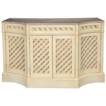 Hollywood Regency Designer Marble-Top Painted Checkerboard Sideboard