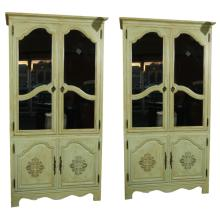Pair of Green Painted Baker Armoires