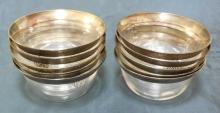 Antique Art Deco Sterling Silver Overlay Bowls