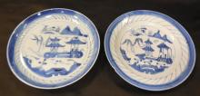 Antique Chinese Canton Blue & White Porcelain