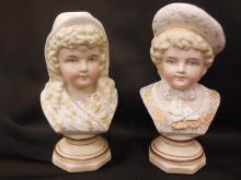 Pair Bisque Doll Piano Baby Bust Statues
