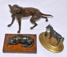 Three Vintage Hunting Bronzes Dogs Horse