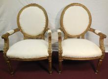 Pair of French Arm Chairs in Muslin