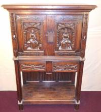 Antique English Carved Oak Court Cupboard