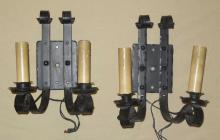 Pair Wrought Iron Arts & Crafts Wall Sconces