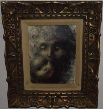 Portrait of Mother & Child Oil on Canvas - Kirsett