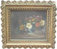 Antique Still Life w/ Flowers & Vase