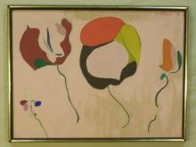 Abstract Painting on Canvas, Signed Murielle '70