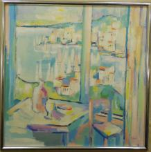 Abstract Acrylic on Canvas Harbor Scene, Signed