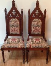 Pair Antique American Gothic Mahogany Side Chairs