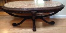 Mahogany Marble Top Renaissance Revival Table
