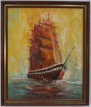 Lucros? Mid Century Seascape w/ Clipper Ship