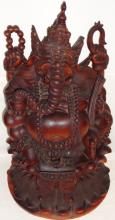 Vintage Wooden Sculpture of Asian Elephant God