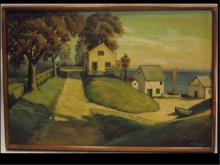 Landscape w/Boathouses- A. Sabignol- Oil on Canvas