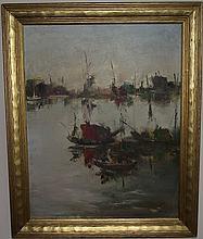 Jacob W. Gates-Harbor Scene-Oil/Canvas-Salmagundi