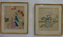 Pair of Japanese Watercolor Paintings on Silk