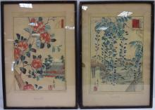 Pair of Chinese Color Woodblock Engravings