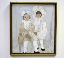 Portrait of Two Girls- Enid Edson- Oil on Canvas
