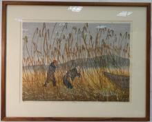 Japanese Color Woodblock of Hunters/Signed & #d