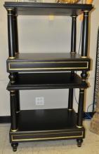 2 Jansen-Style 2-Tier Tables/Column Legs+Greek Key