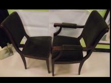Set of 6 19th Century Green Fabric Dining Chairs