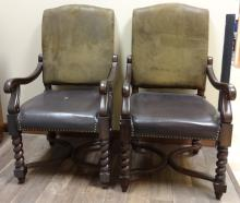 Pair of Antique Leather Armchairs