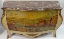 19th Century Italian Marble-Top Hand-Painted Bombe