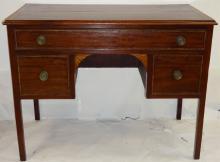 Georgian Fan-Inlay & Satinwood Cross-Banded Desk