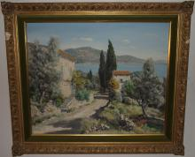 Coastal Scene w/Villa+Cottage-Lucien Potronat-O/C