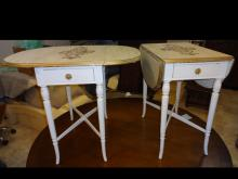 2 Vintage Gilt Italian Drop-Leaf Tables w/Drawers