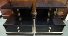Pair of Black & Gold Modern End Tables w/2 Drawers