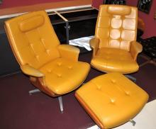 2 Mid-Century Beige Leather Lounge Chairs+Ottoman