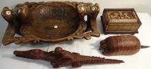 Lot of 4 Vintage Carved Wooden Pieces