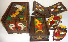 4 Vintage Bali Painted Wood Boxes & 1 Book Stand