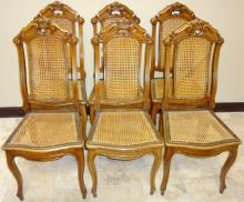 Set of 6 Victorian Walnut+Caned Dining Room Chairs