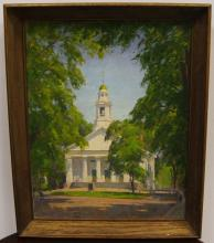 Allen Cochran- Landscape with Church- Oil/Board