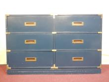 Vintage Blue Campaign-Style Dresser