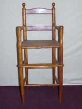 Antique Child's High Chair w/ Rush Seat
