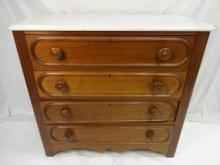 Antique American Victorian Walnut Marble Dresser