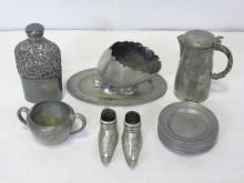 Lot of 16 Antique Pewter Items Plates Tankard